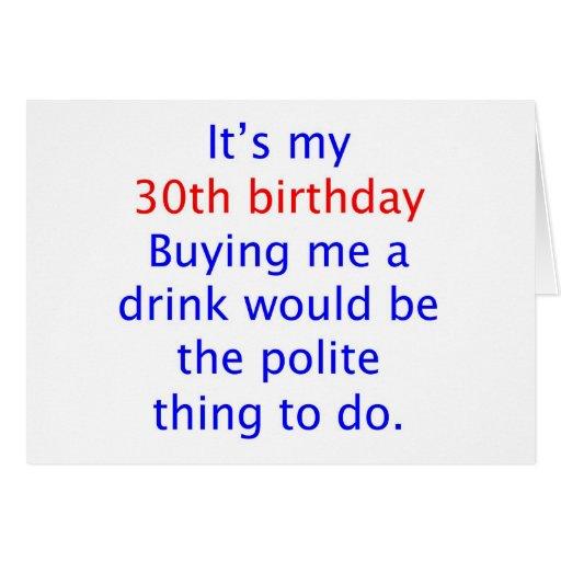 30 me compran una bebida tarjeta de felicitación