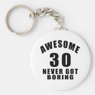 30 never got boring basic round button keychain
