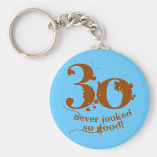 30 Never Looked so Good! Basic Round Button Keychain