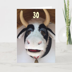 30 NOW THAT IS SOMETHING TO MOO ABOUT BIRTHDAY CARD