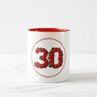 30 Number 30th Birthday Anniversary red mug