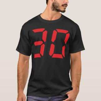 30 número digital del despertador de treinta rojos playera