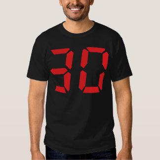 30 número digital del despertador de treinta rojos polera