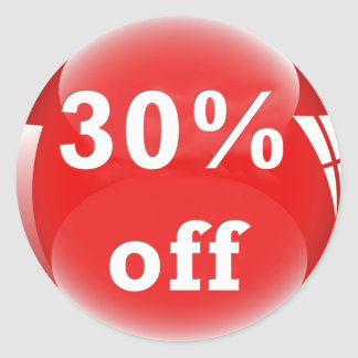 30% Off (Percent) Round Glossy Sticker