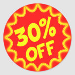 30 PERCENT OFF RETAIL LABEL STICKERS