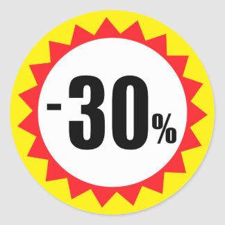 30 percent sale discount stickers red white yellow