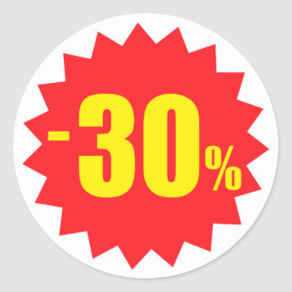 30 percent sale discount stickers, white and red classic round sticker