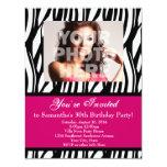 "30 Pink Zebra Swirl Custom Invitations 4.25"" X 5.5"" Invitation Card"