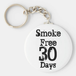 30 , Smoke Free , Days Basic Round Button Keychain