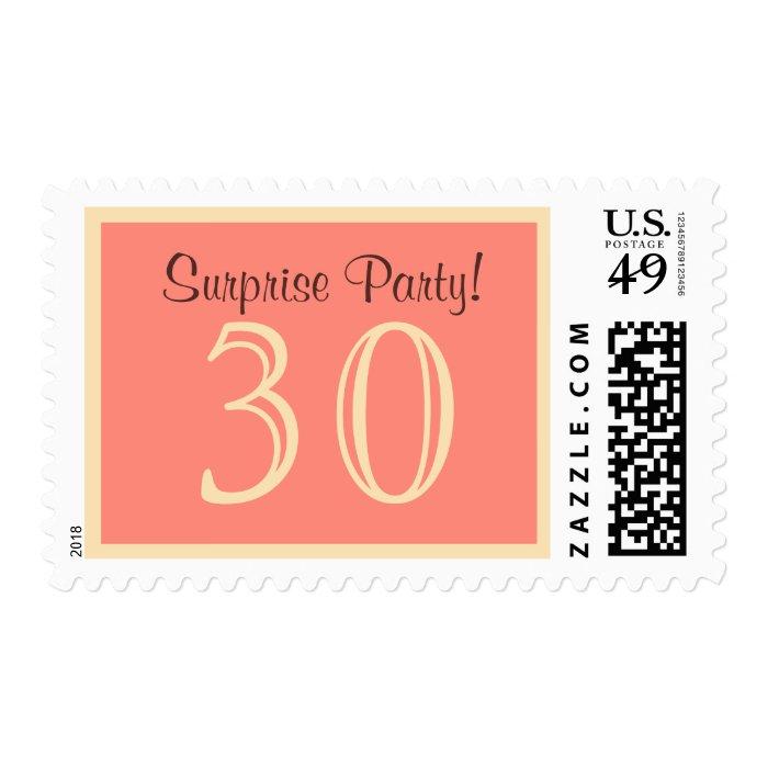 30 Surprise Party Postage - Salmon