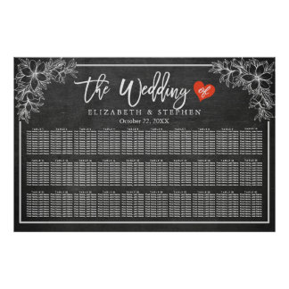 30 Tables Seating Chart Chalkboard Floral Frame