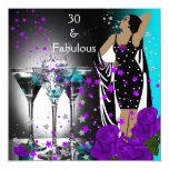 30 trigésimos rosas fabulosos de la púrpura del invitación 13,3 cm x 13,3cm