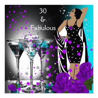 """30 trigésimos rosas fabulosos de la púrpura del invitación 5.25"""" x 5.25"""""""