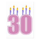 30 velas del cumpleaños (rosa/púrpura) postal