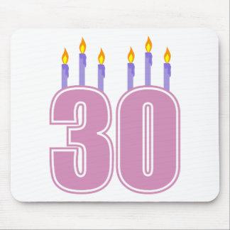 30 velas del cumpleaños rosa púrpura tapete de raton
