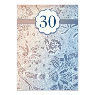 30 wedding anniversary blue elegant invitations