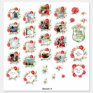 30 x WEDDING Journal Planner Red Roses Photo Text Sticker