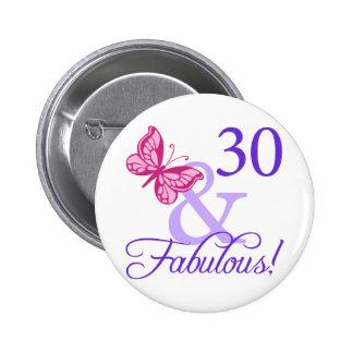 30 y cumpleaños fabuloso pin redondo de 2 pulgadas