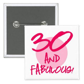 30 y fabuloso pin cuadrado