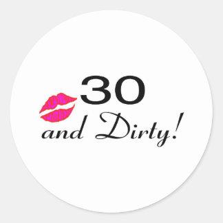 30 y labios sucios etiquetas redondas