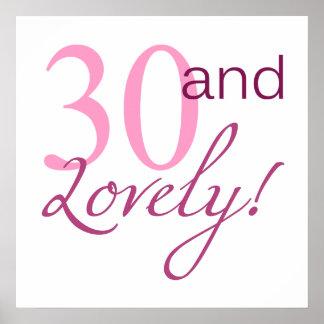 30 y regalos de cumpleaños preciosos póster
