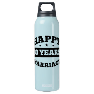 30 Year Happy Marriage Insulated Water Bottle