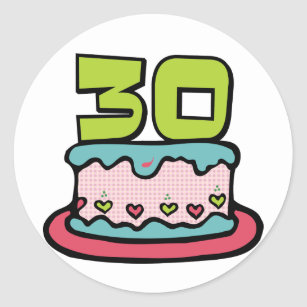30 Year Old Birthday Cake Classic Round Sticker
