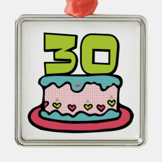 30 Year Old Birthday Cake Square Metal Christmas Ornament