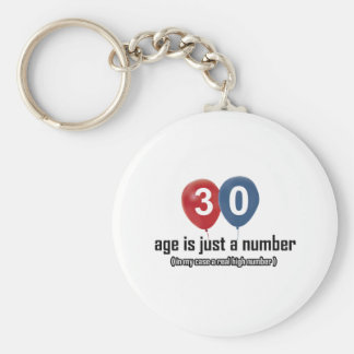 30 year old nothing but a number designs basic round button keychain
