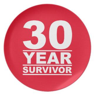 30 year survivor melamine plate