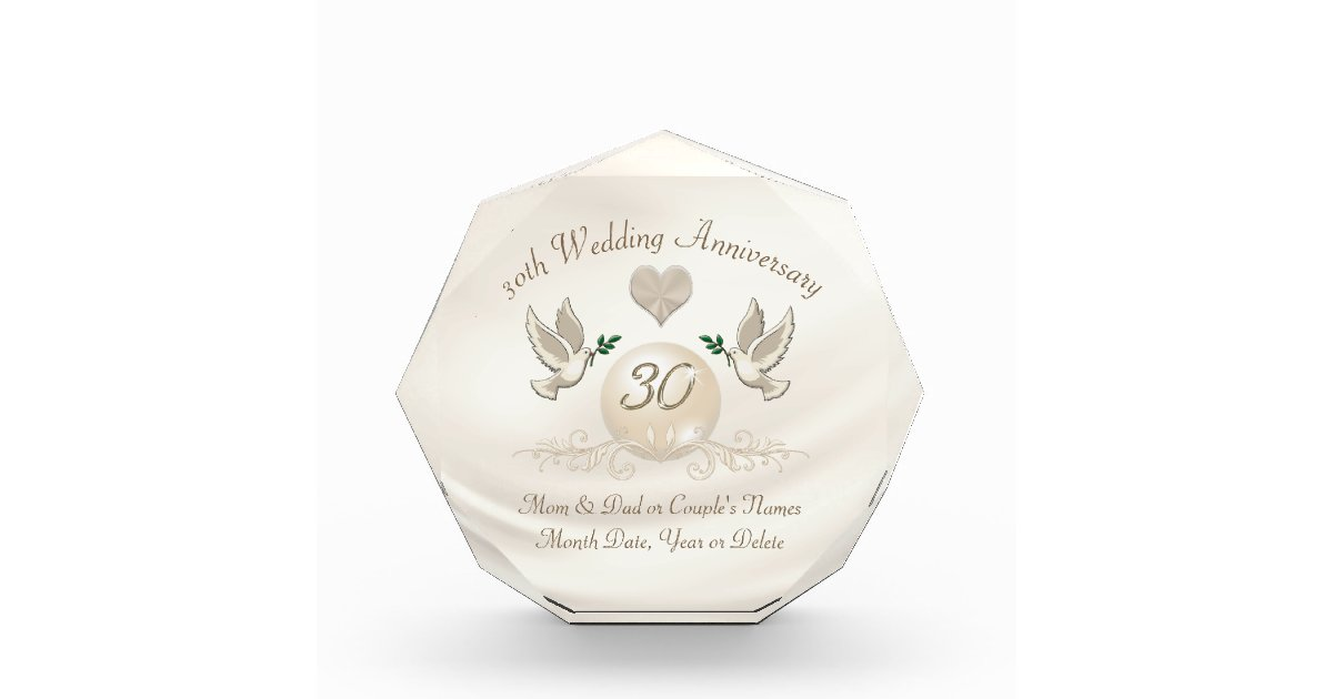 30 Year Wedding Anniversary Gift For Parents Zazzle
