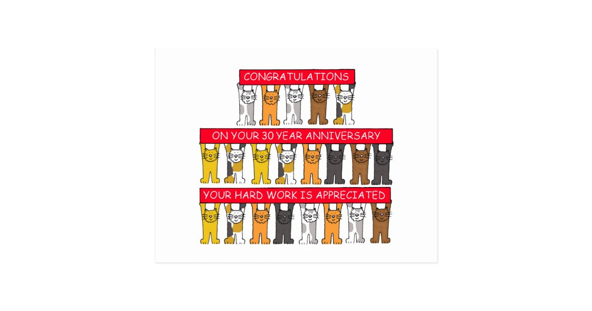 30 year work anniversary congratulations cute cats postcard zazzle com