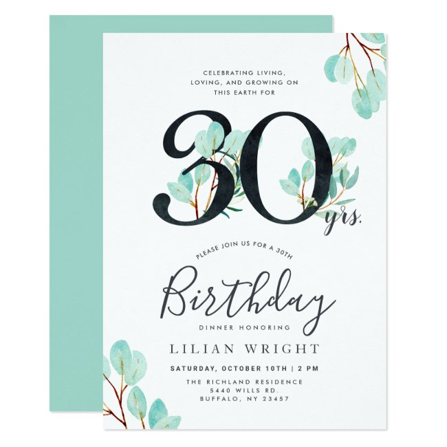30 Years Growing | 30th Birthday | Eucalyptus Invitation