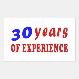 30 years of experience rectangular sticker