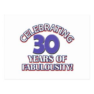30 years of fabulousity postcard