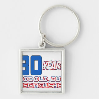 30 YEARS OLD BIRTHDAY DESIGNS Silver-Colored SQUARE KEYCHAIN