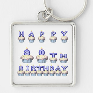 30 Years Old Silver-Colored Square Keychain