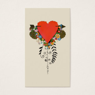30s Valentine Heart in Red Business Card