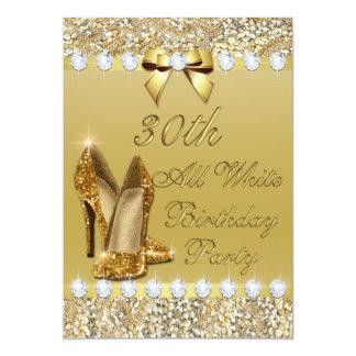 30th All White Birthday Gold Heels Sequin Diamonds Card