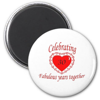 30th. Anniversary 2 Inch Round Magnet