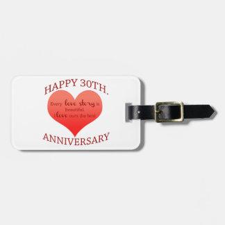 30th. Anniversary Bag Tag