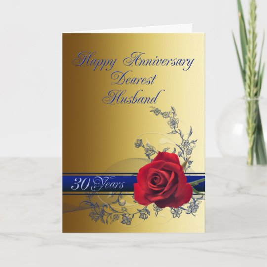 30th Anniversary Card For Husband With A Red Rose Zazzle Com