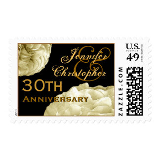 30th Anniversary Customized Stamp IVORY Roses