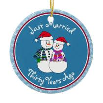 30th Anniversary Gift Fun Snow Couple Ceramic Ornament