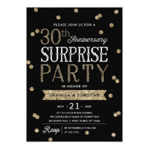 30th Anniversary Glitter Confetti Surprise Party Invitation