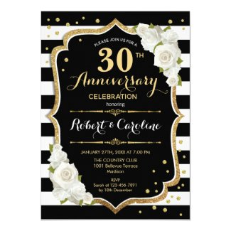 30th Anniversary Invitation - Black White Gold