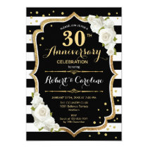 30th Anniversary Invitation - Black White Gold