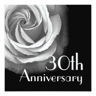 30th Anniversary Invitation - WHITE Rose
