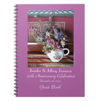 30th Anniversary Party Guest Book, Vintage Teapot Spiral Notebook