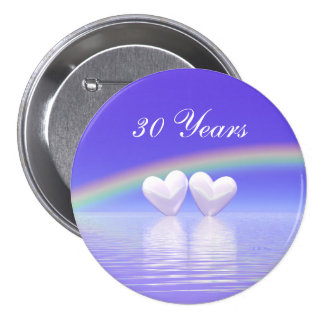 30th Anniversary Pearl Hearts Pinback Buttons